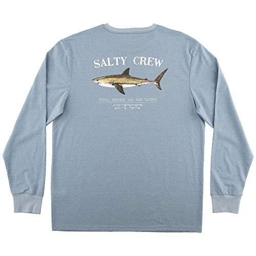 Salty Crew Men's Bruce Tech Long Sleeve T-Shirt, Columbia Blue, X-Large