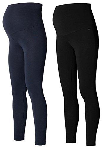 2 Set Damen Umstandsmode Leggings Umstandsleggings lange Umstands- Leggings Strümpfe & Strumpfhosen/Leggins (M (38-40), marine & schwarz)