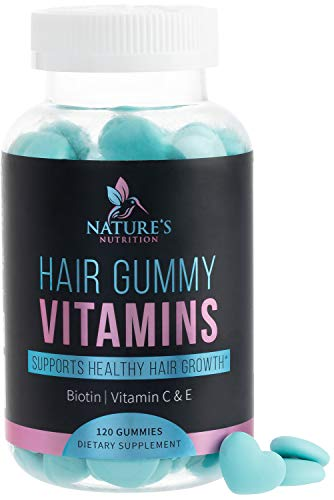 Hair Gummy Vitamins with Biotin 5000 mcg, Vitamin E & C to Support Hair Growth, Premium Pectin-Based, Non-GMO, Supports Strong, Healthy Hair & Nails, Blue Berry Supplement