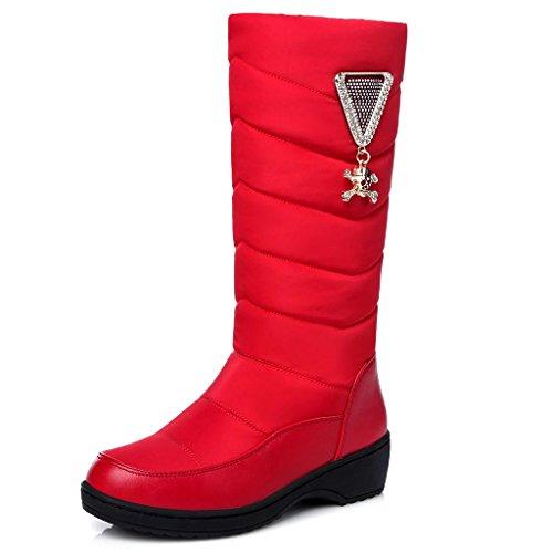 de Cheville de Bottes Tube Neige dans Bottes Dames Tricolore Neige Red pour de d'hiver amp;Q Q Filles Bottes Neige Le pour Femmes qUwECAx