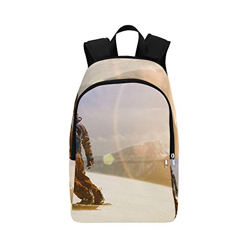 (HYTCSY Snowboarder Jumping Through Air Casual Daypack Travel Bag College School Backpack for Mens and Women)