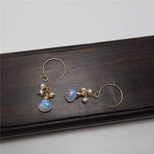 Chubby Pear Shape Moonstone Earrings Freshwater Cultured Pearl 14K Gold Filled Ear Hooks And ()