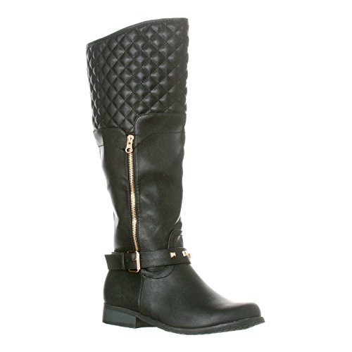 - Riverberry Women's Ava Quilted Knee-High Low Heel Casual Riding Boots, Black, 7.5