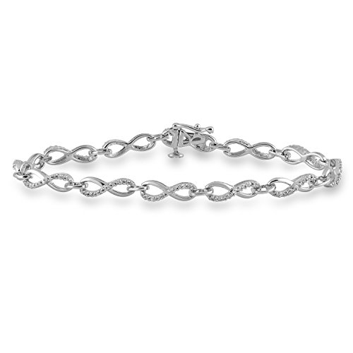 Jewelili Sterling Silver 1/3cttw Round Natural White Diamond Infinity Bracelet, 7.25