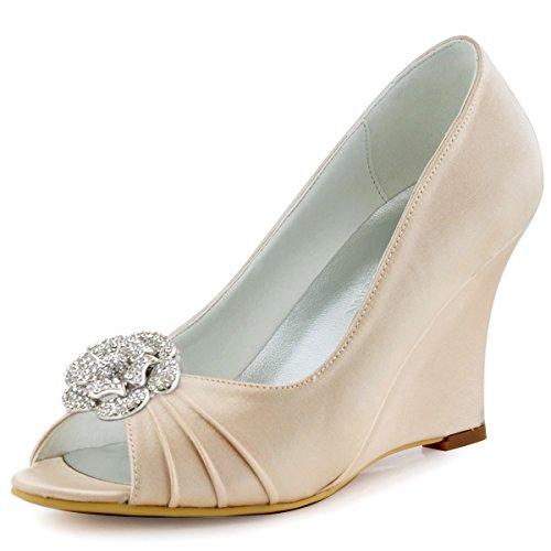 Elegantpark WP1547 Mujer Fiesta Cuña AF01 Desmontable Flores Rhinestone Zapatos Clips Satén Zapatos De Boda Champ¨¢n
