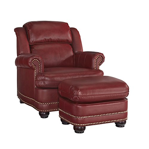 Home Styles 5201-100 Winston Stationary Chair and Ottoman, Garnet Red (Red Chair With Ottoman compare prices)