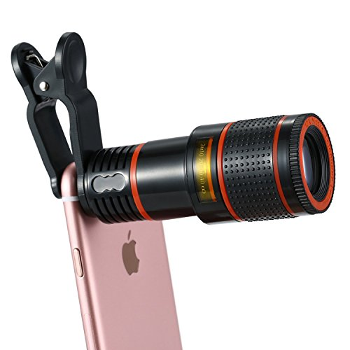 KNGUVTH Cell Phone Camera Lens Kit, 12X Optical Zoom Universal High Definition Focus Telescope Mobile Phone Lens with Universal Clip for iPhone, Samsung Galaxy, HTC, Sony, LG & Most - Definition Normal Lens