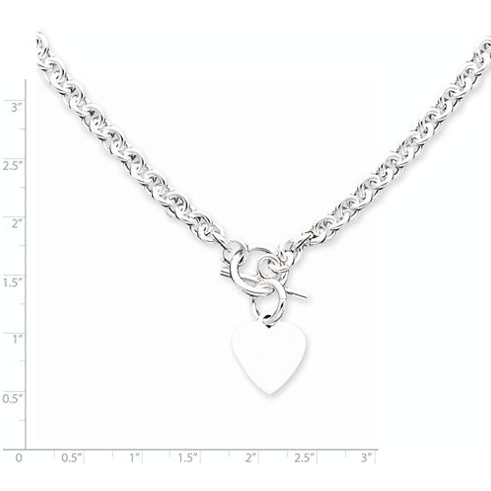 0b94c59b3 JewelryWeb Italian 925 Sterling Silver Heart Tag Disc Fancy Toggle Necklace  - 18 Inch Chain Necklaces Jewelry
