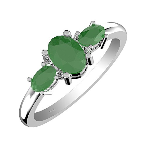 - 1.60ct, Genuine Emerald 5x7mm Oval & Solid .925 Sterling Silver Ring (Size-9)