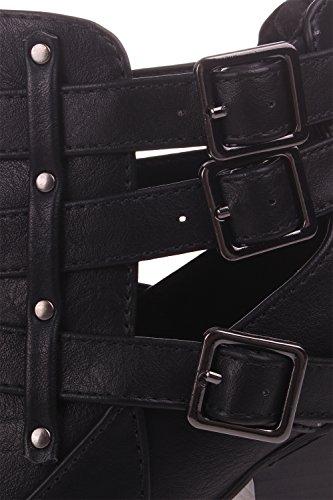 Enimay Femmes 4 Pouces Talon Aiguille Élastique Panneau Slip Sur Robe Bottines En Cuir Noir