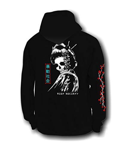 Riot Society Geisha Skull Mens Hoodie - Black, Medium