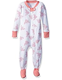Baby Girls' Sleeper Pajamas, Zip Front Non-Slip Footed...