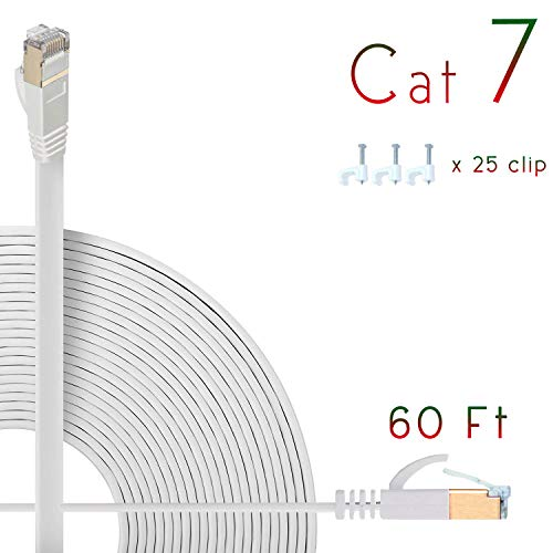 Cat7 Ethernet Cable 70ft Flat High Speed Shielded (STP) Solid Computer Network Cord with Snagless Rj45 Connectors Slim Durable Internet LAN Wire for Modem,Router.Faster Than Cat5e/Cat5/cat6 (White) ()