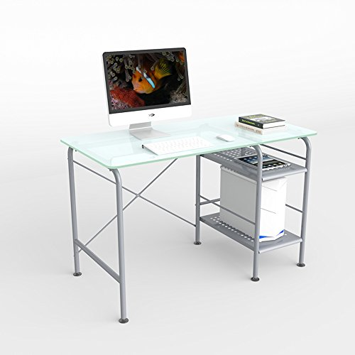 MS Tables Simple Modern Tempered Glass Computer Desk Desktop Home Desk Simple Learning Desk Writing Desk Environmental Protection Plus Crude Steel Firm Support @ (Color : Frosted Glass)