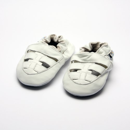 Jinwood designed by amsomo - Patucos de Piel para niña Blanco - sandal strap white soft sole