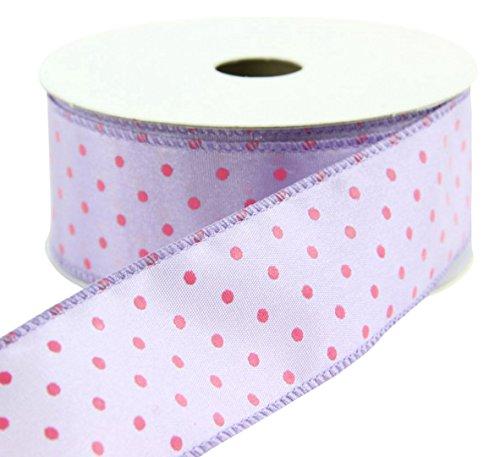 Shinoda Design Center 0141008290 2 Piece Wired Satin Polka Dot Ribbon Set, 1.5