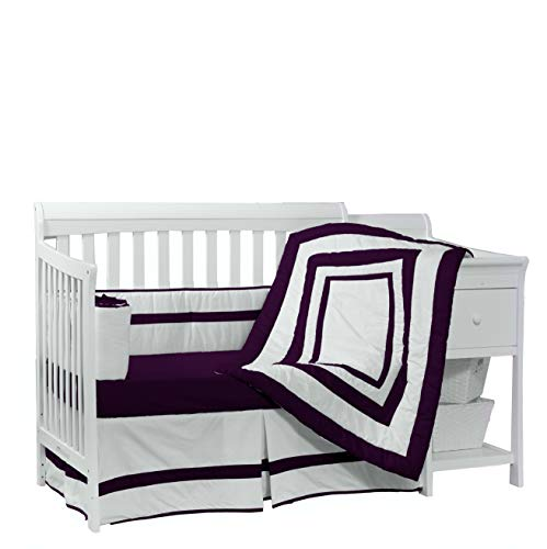 (Baby Doll Bedding Modern Hotel Style 4 Piece Crib Bedding Set, Plum)