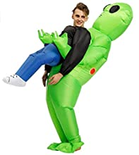 DREAMY Inflatable Alien Costumes Suitable for Kids and Adults, Halloween Cosplay Party Polyester Blow Up Costumes (Alien) Green