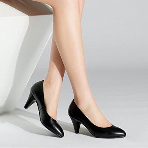 la Boca Baja Femenina de Los Tacones Altos con Fino con Los Zapatos de Cercanía Del Temperamento de la Cabeza Redonda Pequeña UN