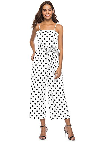FairyMei Women's Striped Waist Belted Back Wide Leg Casual Loose Polka Dot Jumpsuit Rompers with Floral Print Pleated mid Dress(S,White) ()