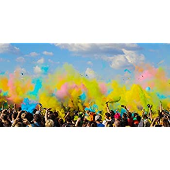 """Adventure Awaits! - Color Cannon 12"""" x 6-Pack Hand Held Air Compressed Party Popper Assorted Powder Colors, Color Run Festival Product"""