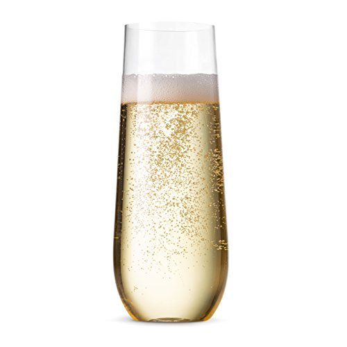 (48 Pack Stemless Plastic Champagne Flutes Disposable 9 Oz Clear Plastic Toasting Glasses Shatterproof Recyclable and BPA-Free)