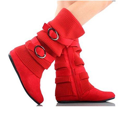 Stivali Da Donna Caldi Con Fibbia Doppia Fibbia In Nero, Marrone, Rosso, Marrone Chiaro, Grigio Rosso