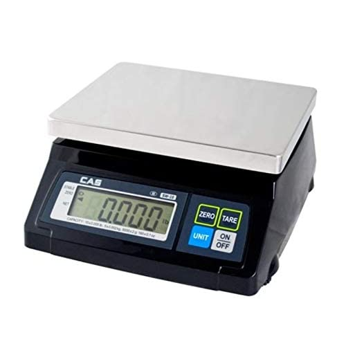 Image of Digital Scales CAS SW-RS (10LB) SW-1RS Series POS Interface Portion Control Scale, 10 Lbs Capacity, Stainless Steel Platter, Soft Touch Tactile Keyboard, Lb/g/kg/oz Switchable, Easy to Read 1 Inch LCD Display
