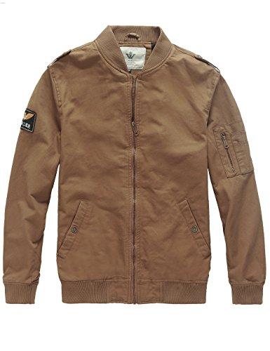 WenVen Men's Lighweight Bomber Military Vintage Coat(Khaki, S)