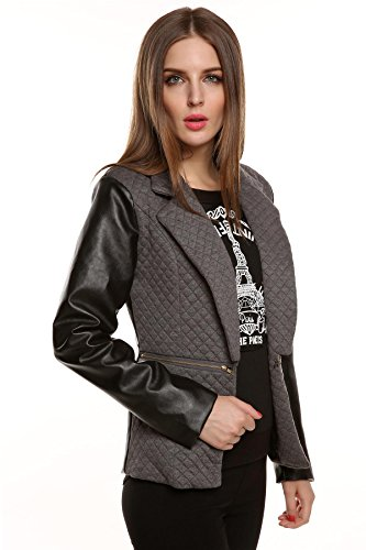 Stylish Blousons Leather Ladies Gris Sleeve Zipper Synthetic Women Pocket Jacket Overcoat Outwear Pagacat Casual Coat Long 4fd6fqw