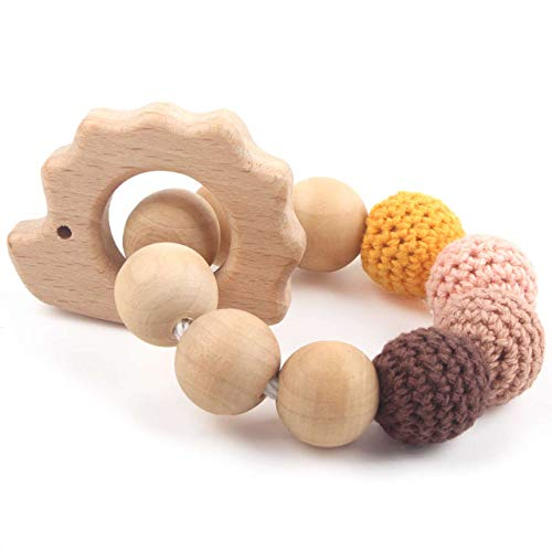 Baby Teether Bracelet Toddler Teething Waldorf Maple Natural Wood Ring Chewing Beads Shower Gift, Hedgehog Orange Charms