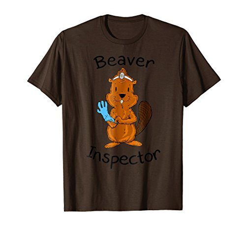 Mens Inspector Beaver Tail Shirt Funny Tees For Men Beaver Shirt Medium Brown (Mens Brown Beaver)