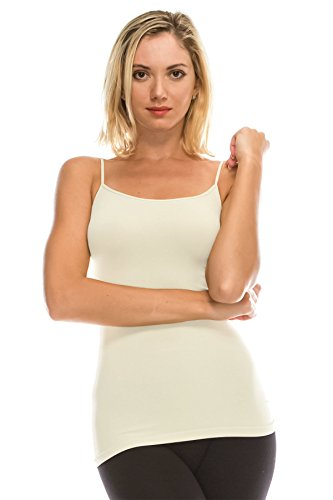 (Kurve American Made Basic Seamless Cami, UV Protective Fabric UPF 50+ (Made with Love in The USA), Cream, Medium / Large )