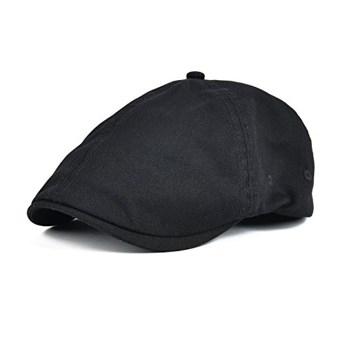 VOBOOM Cotton Washing Flat Cap Cabbie Hat Gatsby Ivy Irish Hunting Newsboy (Black) -