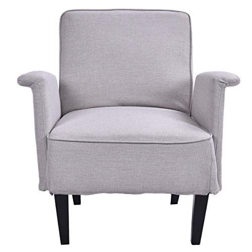 AK Energy Office Visitor Reception Upholstered Accent Arm Chair Single Sofa Room Home Furniture Beige