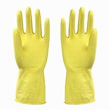 SMO Kitchen Washing Cleaning Waterproof HandSaver Powder Free Reusable Latex Gloves 5Pairs (Yellow, XL)
