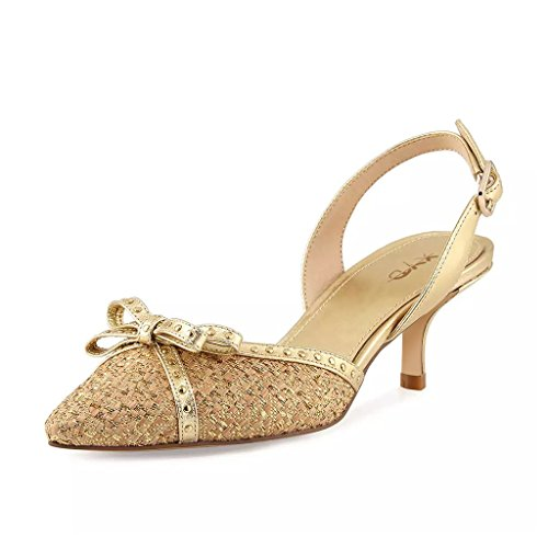 XYD Party Dress Pointy Toe Sandals Slingbacks with Bows Low Heel Ankle Strap Pumps Shoes for Women Size 8.5 - Bow Slingback Heels