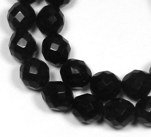 Heated 16in Strand (Jet Black Czech 12mm Faceted Round Firepolished Glass Beads 16