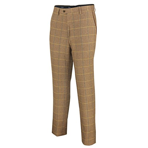 Mod Suit Trousers (XPOSED Mens Tweed Trouser Vintage Herringbone Check Slim Fit Grey Tan Brown MOD Retro Suit Pants [Light Oak,Waist 30])
