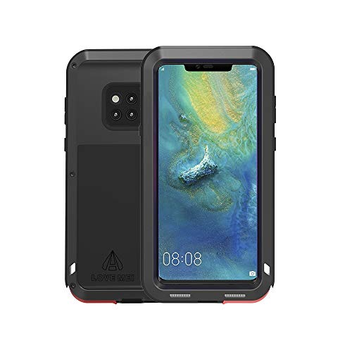 Huawei Mate 20 Pro Case,Bpowe Super Shockproof Silicone Aluminum Metal Armor Tank Heavy Duty Sturdy Protector Cover Hard Case with HD Clear Screen Protector for Huawei Mate 20 Pro 6.39inch (Black)