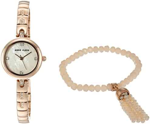 Anne Klein Women's AK/2854RGST Swarovski Crystal Accented Rose Gold-Tone Watch and Beaded Bracelet Set