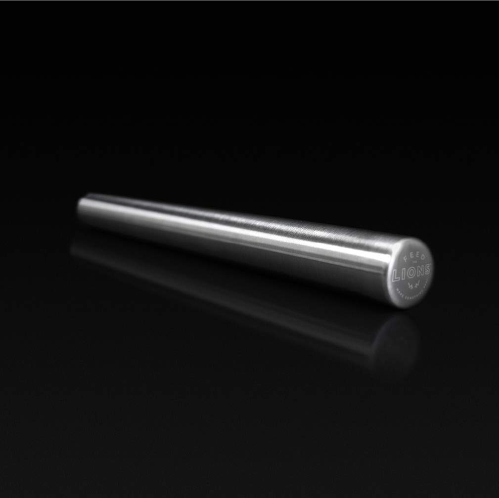 Feed the Lions Premium 304 Stainless Steel Long Rod Rolling pin 16.14 inch (41cm) for Professional Kitchens. Roll Perfect Pastry, Fondant and Dough like a Rock Star. by Feed The Lions
