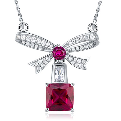 PAKULA 925 Sterling Silver Women Simulated Ruby Solitaire Bow Tie Ribbon Pendant Necklace Chain 18 Inch