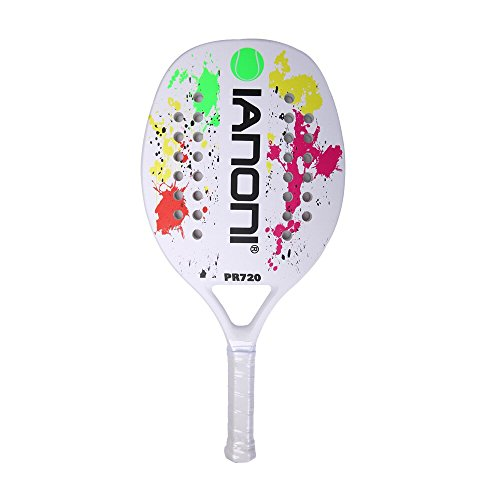 IANONI Beach Tennis Racket Carbon Paddle Fiber Grit Face with EVA Memory Foam Core Beach Tennis Raquet (White)