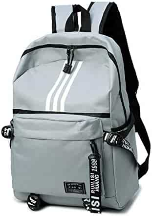 YOURNELO Unisex Cool Fashion Oxford Leisure School Backpack Rucksack (Gray) 904f0039ad