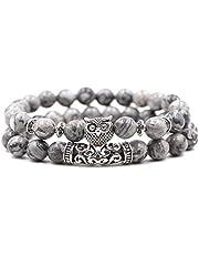 Steen armband vrouwen, 7 chakra natuursteen bangle kralen grijze marmeren armbanden elastische charme yoga vriendschap uil hoofd dier sieraden vrouwen Stenen armband