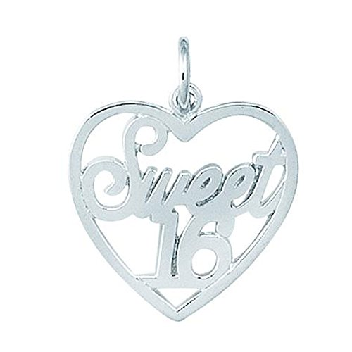 Sterling Silver Sweet - Silver on the Rocks Heart Charm, Sterling Silver Sweet 16 Jewelry for Necklace, Bracelet