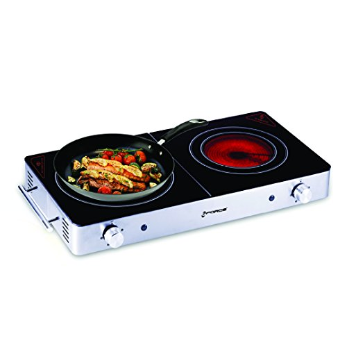 GForce Countertop Electric Burner, Ceramic Glass, Cool Touch Infrared Stove - 1200-Watts