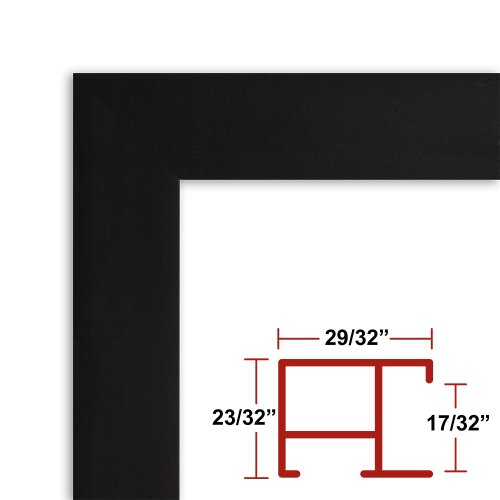 29 1/2 x 38 1/2 Satin Black Poster Frame - Profile: #97 Custom Size Picture Frame by Poster Frame Depot