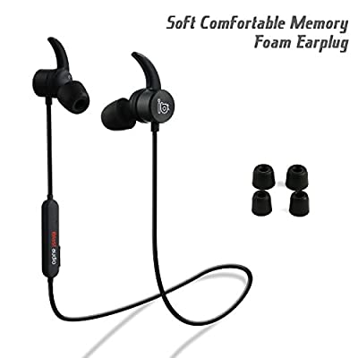 iblast audio Bluetooth Earbuds, Wireless 4.1 Sports Sweatproof Workout Running Magnetic Headphones Secure Fit Noise Cancelling Headset with Mic for Workout Gym Premium HD Sound Cordless Earphones